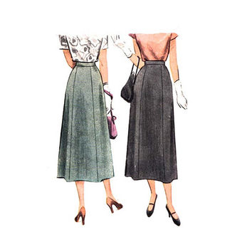 Flared 1940s High Waist Midi Skirt Sewing Pattern McCall 7337 6 Gore A Line Skirt with Side Opening Waist 26