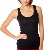 "Basic 27"" Workout Gym Scoop Neck Yoga Racerback Cami Layering Tank Top"