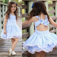 Kids Summer Clothes Striped Lace Little Girls Summer Dresses