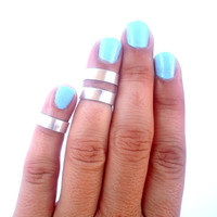 3 Above The Knuckle Ring - Silver  Band  Knuckle Rings - Set of  3 by Tiny Box -