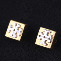 Tory Burch New Fashion Personality Square Earring Accessories Women Golden