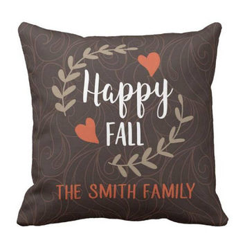 Happy Fall PILLOW - Family Name Pillow - Personalized Fall Gift - Family Name Gift - Fall Quote Decor - Fall Pillow Cover or With Insert