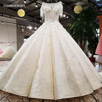 LS98412 100% real pictures show 2 meters long train key hole back two layers super big puffy ball gown 2018 new wedding dress