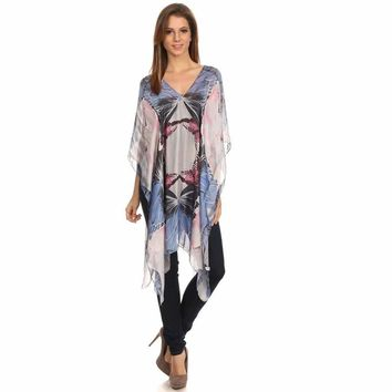 Womens Silk-Blend Lightweight Pull Over Poncho