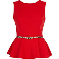 Red leopard print belted peplum top