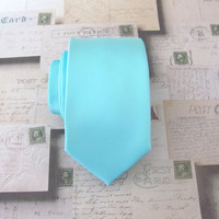 Mens Tie. Tiffany Blue Narrow Necktie With Matching Pocket Square Option Inspired by Alfred Angelo's Blue Box