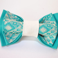 30 USD OFF - Any 3 bowties for the price of 2! Turquoise unisex bowtie Groomsman bowtie Anniversary gifts men Christmas gift him Embroidered