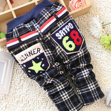 On Sale 2016  Winter baby boys pants with plaid thickness warmly soft baby trousers B064