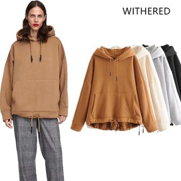 Withered 2018 BTS hoodie Sweatshirts hooded Early autumn kangaroo solid hooded regular fashion Women's hoodie plus size 0925
