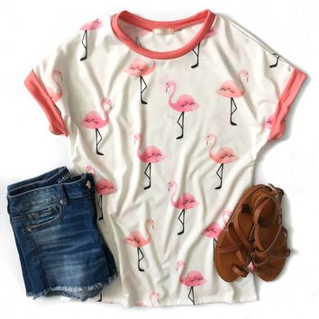Ivory and Pink Flamingo Top