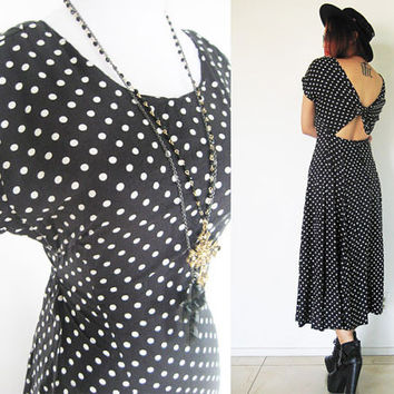 Vintage 80's polka dot black cut out open tie back grunge boho  hippie punk maxi summer day dress