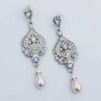 VIOLA - Rhinestone and Swarovski Pearl Bridal Earrings in White Gold