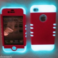 iPhone 4 4S Glow In the Dark & Fluorescent Hot Pink Case Shock Resistant Hybrid
