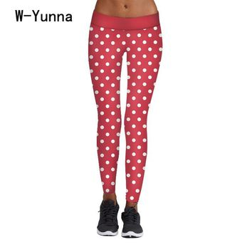 W-Yunna New Christmas Red Dot Print Leggin Women Harajuku High Waist Slim Leggin Bodybuillding Legging Skinny Activewear Pants
