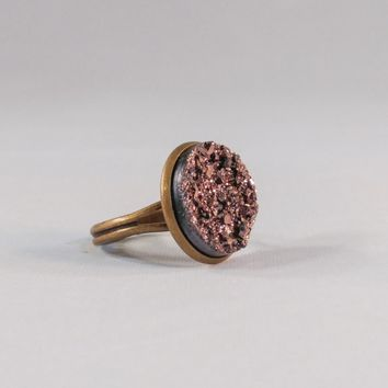 Big Adjustable Faux Druzy Statement Ring 16mm