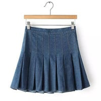 Denim Mid Waist A-Line Pleated Mini Skirt