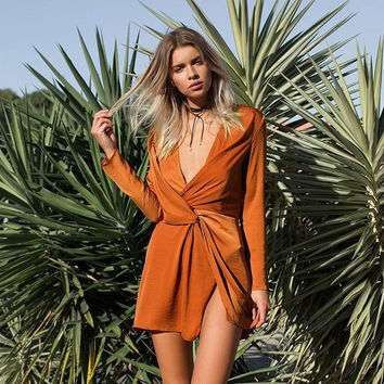 Autumn Slim Dress One Piece Dress [9430870532]