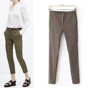 Chic slim work pants women pantalones mujer pencil pants skinny pants vetement femme Fashion plaid print trousers PT055