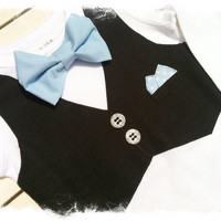 BOYS TUXEDO BODYSUIT-Baby Blue Bow Tie Snap Bottom with Black Vest-Boys Wedding Apparel-Tuxedo One Piece-Baby Tux