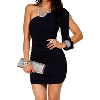 Navy Single Shoulder Bejeweled Dress