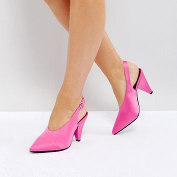 New Look Wide Fit High Vamp Cone Heel Shoe at asos.com