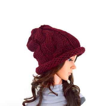 Chunky Knit Slouchy Cable Hat Beanie Toque // The Helena // in Claret