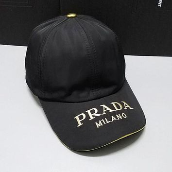 PRADA Newest Stylish Women Men Embroidery Sports Sun Hat Baseball Cap Hat Black