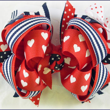 Boutique hair bow, Girls hair bows, BON VOYAGE bow, Nautical bow, red and navy hairbow, Boutique stacked bows, Hair bows for girls