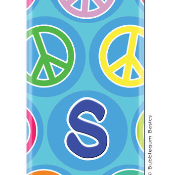 CUSTOM iPhone 5 4s 4 Samsung Galaxy s3 siii Phone Case - Multi Color Peace Signs Initial - 3 Letter Initials Monogram Personalized