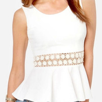 White Sleeveless Cutout Lace Chiffon Peplum Top
