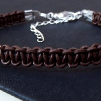 Men's Leather Bracelet with Silver Clasp, Chocolate Brown Macrame Hipster Bohemian Jewelry, Adjustable Unisex Bracelet