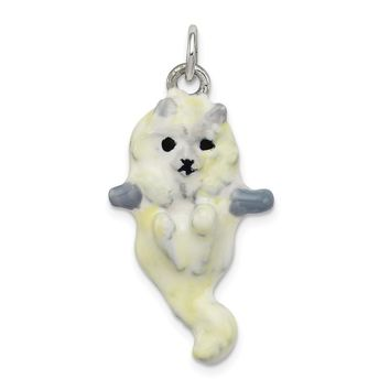 925 Sterling Silver Enameled Cat Hanging Charm and Pendant