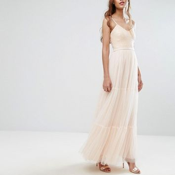 Little Mistress Tulle Maxi Dress in Tiers at asos.com