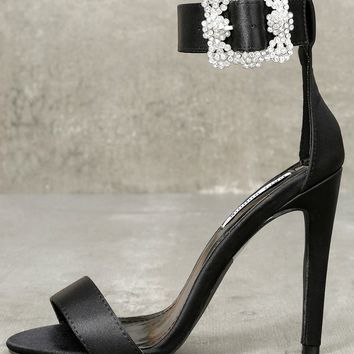 Brooks Black Satin Rhinestone Ankle Strap Heels