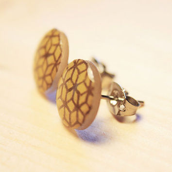 Brown and Pale Yellow Geometric Pattern | stud earrings
