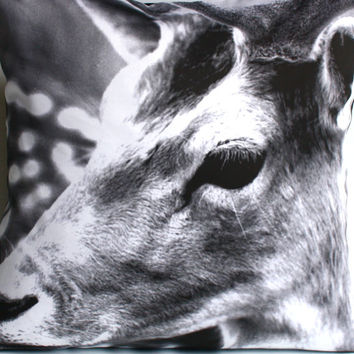 Animal cushion monochrome deer, DEER cushion, 40cm cushion organic cotton  cushion cover, pillow, 16x16 inch pillow