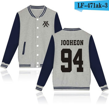 Monsta X Jooheon Gray Navy Korean Pop Kpop jacket album kpop Baseball Letterman style fashion trendy  SQ12017