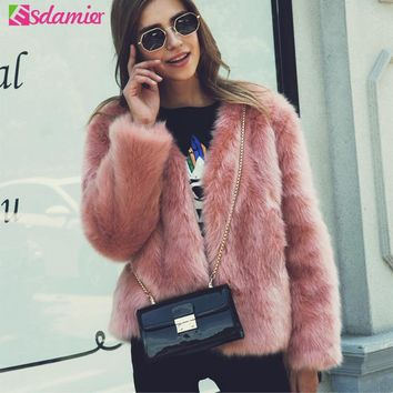 Winter New Thick Warm Faux Fur Coat Pink Luxury Women's Furry Coat White Lady Fake Fur Jacket Plus Size Fur Coat Women XXXL