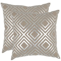 Safavieh Chloe Silver 18-inch Square Throw Pillows (Set of 2)