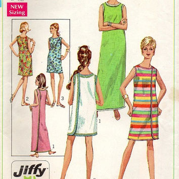 60s Simplicity Sewing Pattern Wrap Around Dress Three Armhole Easy to Sew Beach Cover Up Size Medium