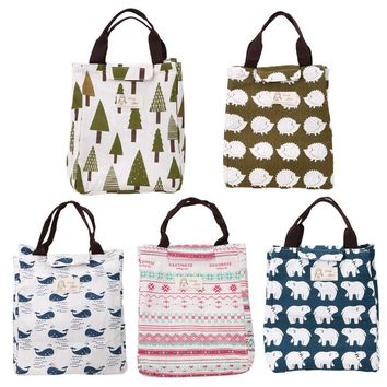 Portable Picnic Bag Lunch Insulated Canvas Thermal Food Lunch Bags organizer Waterproof Tote Bag for Women Kids Men storage bag