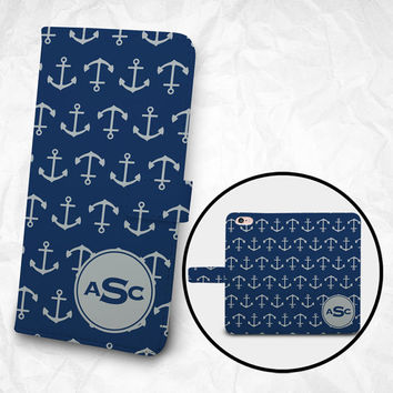 iPhone 6 6S Plus case, Samsung Galaxy S6 case, Edge case, Note 5 4 3 2 PU leather flip cover, wallet case, anchors prints (BBSP-050)