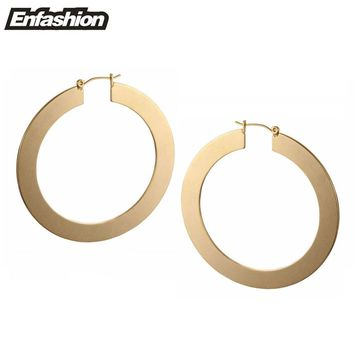 Enfashion Vintage Large Hoop Earrings Matte Gold color Earings Stainless Steel Circle Earrings For Women Jewelry oorbellen