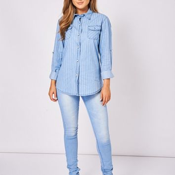 Denim Stripe Shirt With Roll-Up Sleeve