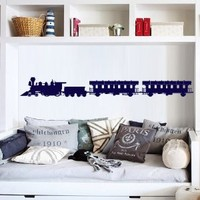 Wall Decal Art Decor Decals Sticker Train Modern Locomotive Wagon Road Mural Rails Fast Room Nursery M1503