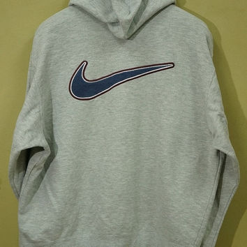 30% Off Nike Swoosh Gray Hoodie Vintage 90's Sweatshirt  / Multi Lab Fragment / Color Block/ Runners Run Vtg  Running /