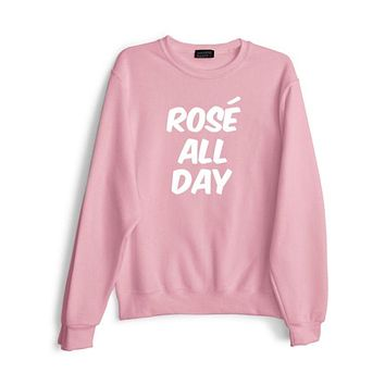 Pink Rose All Day Letter Sweater