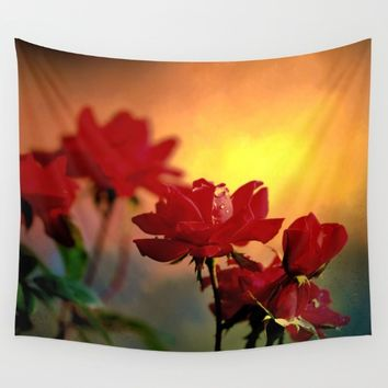 Sunrise On Roses  Wall Tapestry by Theresa Campbell D'August Art