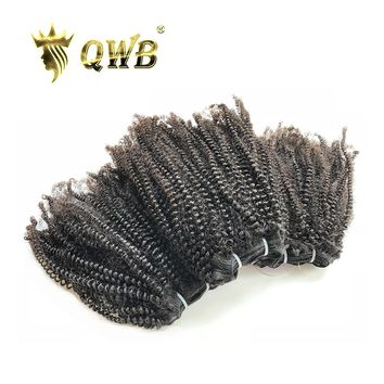 QUEEN WEAVE BEAUTY QWB Free Shipping Coily Curly 3Bundle/Lots 14''~22'' Brazilian Virgin Nature Color 100% Human Hair Extension