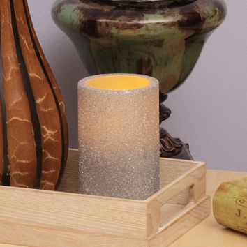 """Silver Glitter Flameless LED Pillar Candles (Set of two, 3""""x5"""")"""